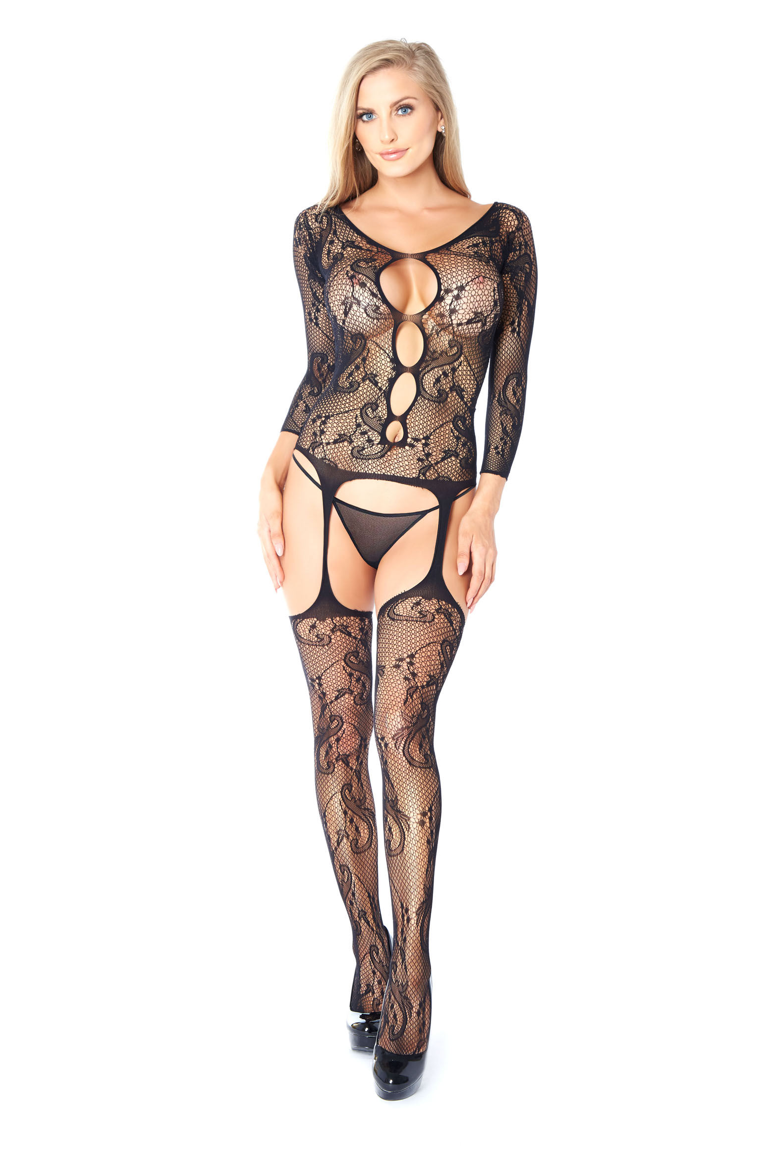 47520211e26 Glitter Leopard Pattern Open Crotch Bodystocking-37502 larger image