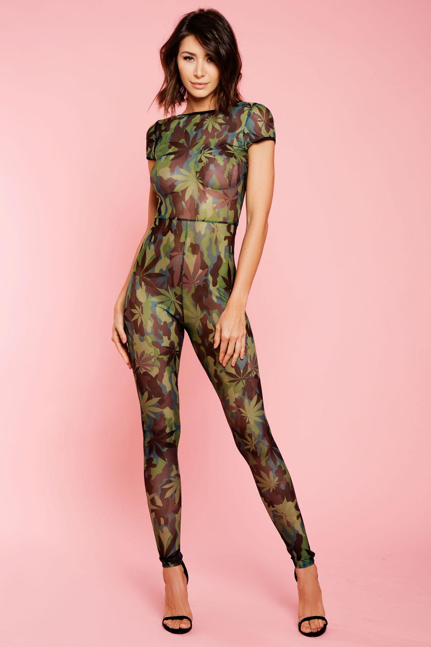 Glitter Weed Print Jumpsuit - 37535