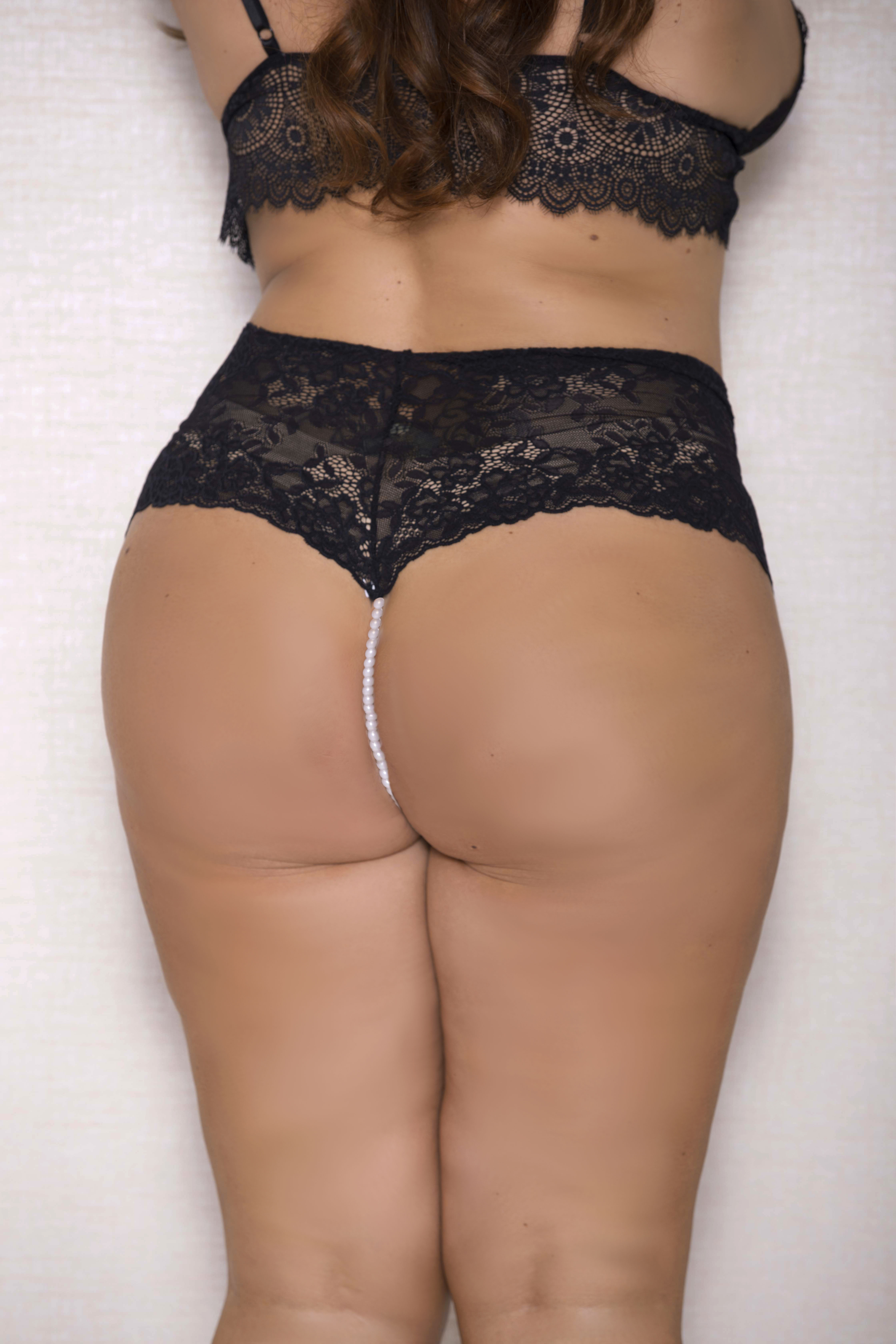 04e09472bf5ab3 iCollection Lace And Open Crotch Pearl String Boy Short-7120X larger image
